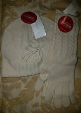 Charter Club Touch of Cashmere Cream Womens Beanie and Gloves Set New