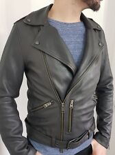 "ALL SAINTS ANTHRACITE ""KAHAWA"" LEATHER BIKER JACKET COAT Size M"