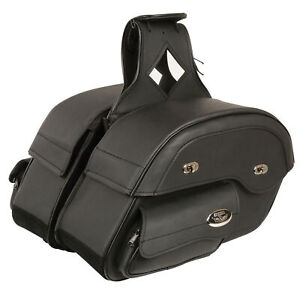 Scratch & Dent Black Leather Motorcycle Saddle Bags 14X10X5.5X18