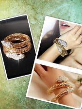 Punk Style Rhinestone Snake Curved Chunky Stretch Crystal Bangle Cuff Bracelet