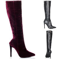 NEW WOMENS STILETTO HEEL ZIP POINTED TOE KNEE HIGH BOOTS SIZE 3 - 8