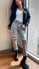 Nasty Gal Raw It Coming Distressed Mom Jeans Grey Uk Size S (36)