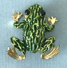 Vintage 60s Gold Tone Green Enamel Textured Frog Toad Brooch Pin