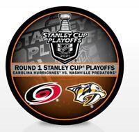 2021 STANLEY CUP PLAYOFFS HURRICANES PREDATORS 1ST FIRST ROUND PUCK NHL DUELING