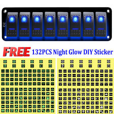 Car Marine Boat 8-Gang Waterproof Circuit Blue LED Rocker Switch Panel Breaker