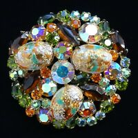 Vintage Juliana DeLizza & Elster Rhinestone Easter Egg Pin Brooch Coral Gold Cab