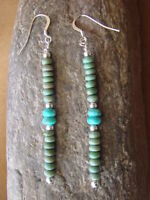 Native American Navajo Jewelry Hand Beaded Turquoise Dangle Earrings