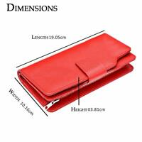 100% Genuine RFID Protection Ladies Purse Wallet Card Holders  Soft Leather Red