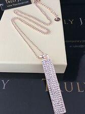 Onorevoli Designer lungo ROSE ORO COLLANA Diamanté DROP CIONDOLO gioielli regalo UK
