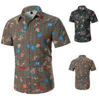 Summer Luxury Men's Casual Slim Fit Dress Shirts Short Sleeve Floral Shirts Tops