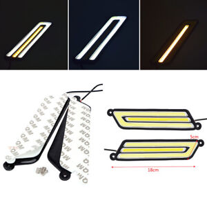 Pair U Shape COB White+Amber LED Light Car Driving Light DRL Lamp 12V Waterproof