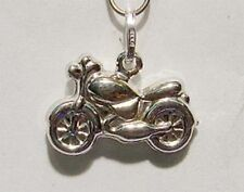 New 14k White Gold Motorcycle 3D Charm/Pendant