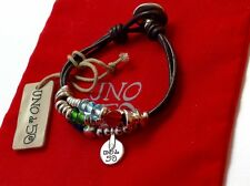 """NWT Uno de 50 Silver Plated/Leather/Multi Color Bead Bracelet 6"""" """"Found You"""""""