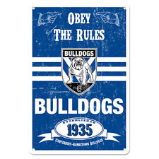 Canterbury Bulldogs NRL Retro Tin Wall Sign Obey The Rules Man Cave Bar Gift