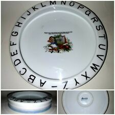 """8"""" Vtg. Germany Baby Dish With Abc's Miss Muffet Nursery Rhyme Feeder Bowl"""