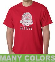 Believe Santa Claus T Shirt Christmas Xmas Holiday T-Shirt Tee Funny Gift Idea