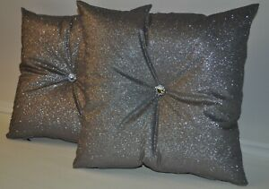 """2 Silver Grey Glitter Display Show Cushions with Crystal Buttons 16"""" 18"""" 20"""""""