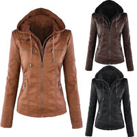 Womens PU Leather Jacket Hooded Motor Coat Winter Outwear Parka Slim Overcoat
