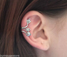 NEW SILVER TRIPLE LEAF HELIX EAR CUFF CLIP ON PUNK GOTHIC EMO EARRING GIFT UK