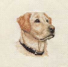 YELLOW LABRADOR RETRIEVER dog, puppy ~  Full counted cross stitch kit