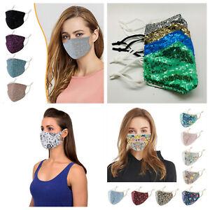 Face Mask Washable Reusable Fashion Sequins Paisley Flower Pattern Ladies Men
