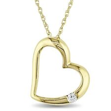 "10k Yellow Gold Diamond Heart Love Pendant Necklace 17"" Chain GH I1;I2"