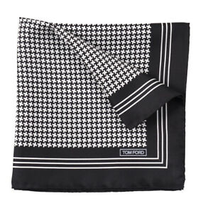 New $180 TOM FORD Black and White Houndstooth Check Print Silk Pocket Square