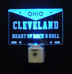 """Cleveland Ohio License Plate LED Night Light -Gift 3/8"""" Acrylc"""