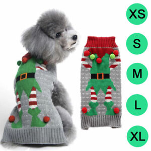 Christmas Pet Dog Sweater Elves Print Jumper Clothes Coat Jacket Puppy Cat Large