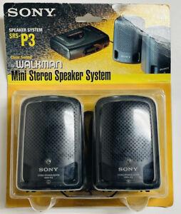 NEW SEALED SONY SRS-P3 MINI STEREO SPEAKER SYSTEM FOR WALKMAN PACKAGE HAS WEAR
