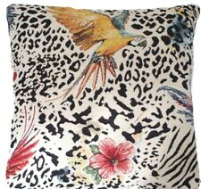 """Parrots Cushion Cover Chenille Fabric Designers White Black Red Yellow 16"""""""