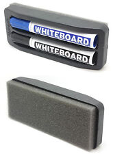 Whiteboard Drywipe Eraser Rubber Cleaner - 2 Pens - Black and Blue