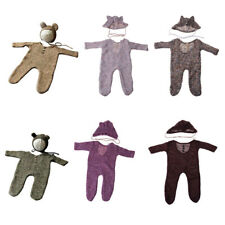 Newborn Romper Photography Prop Baby Girls Boys Bodysuit Hat New Set