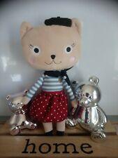 Peluche doudou chat bleu blanc jupe rouge pois bandana noir Boutchou Monoprix