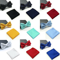 Men Checks Matching Bowtie Bow Tie Handkerchief Pocket Square Hanky Set