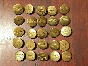 """LOT OF 25 TRAIN  OVERALL WOBBLE SHANK WORK CLOTHES BUTTONS 11/16""""-3/4"""""""