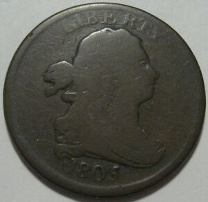 = 1805 VG Half Cent, Nice EYE Appeal, FREE Shipping