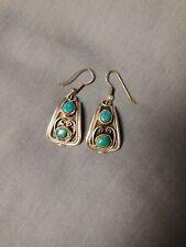 Native American Sterling Turquoise Dangle Earrings For Women
