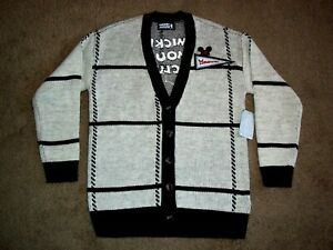 Disney Mickey Mouse Club Cardigan Mouseketeers Grayscale Sweater XXL XXLarge New