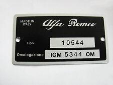 TARGHETTA IDENTIFICATIVA ALFA ROMEO GT V. 1750 BERTONE (TIPO 10544 IGM 5344 OM)