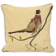 "Golden Pheasant Bird Cream Embroidered Cotton Velvet Cushion Cover 18"" - 45cm"