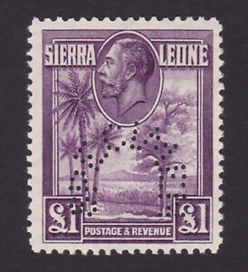 Sierra Leone. 1932. SG 167s, £1 purple, specimen. Fine, mounted mint.