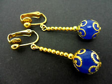 A PAIR OF DANGLY BLUE JADE  BEAD GOLD PLATED DROP CLIP ON EARRINGS.