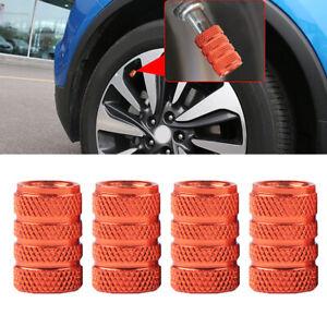 4Pcs Orange Aluminum Piston Tire/Rim Valve/Wheel Air Port Dust Cover Stem Caps