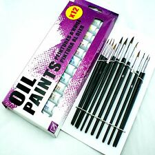 ARTISTS OIL PAINTS SET HOBBIES CRAFTS MAKING PICTURES EQUIPMENT KIT BRUSHES NEW