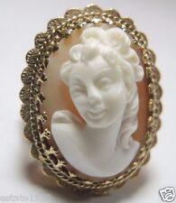 "Estate Vintage Retro Cameo 14K Yellow Gold Ring Size 8.5 UK-Q1/2 1.23"" x .96"""