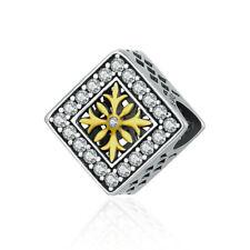 DIY 1pcs Silver European Charm Crystal Spacer Beads Fit Necklace Bracelet J004