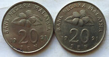 Second Series 20 sen coin 1991 2 pcs