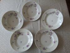5 assiettes creuses  Porcelaine de Limoges  Fin XIXème