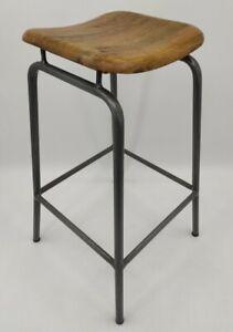 Vintage Industrial Style Lab Kitchen Bar Oak Stool Seat